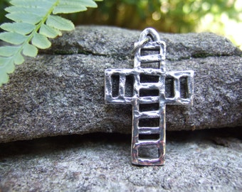 Sterling Cross Pendant - Handcrafted - STER mark on Bottom Edge - Rustic - Original - For Him or Her