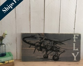 Vintage Airplane Decor - Pilot Gift - Aviation - Airplane Nursery Decor - Rustic Decor- Airplane Art - Gift for Pilots- Travel Art - Fly