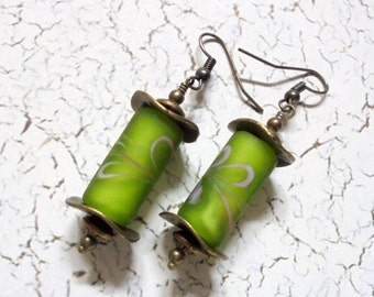 Frosted Lime Green and Brass Earrings (2654)