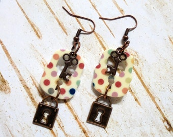 Multicolor Polka Dot Lock and Key Copper Earrings (3106)