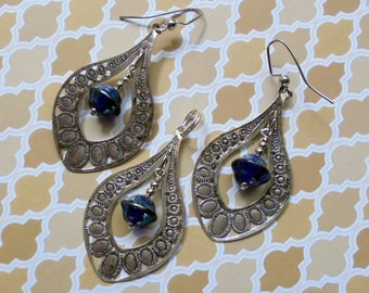 Silver and Blue Pendant and Earrings (2463)