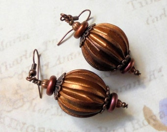 Fluted Copper Earrings (2476)