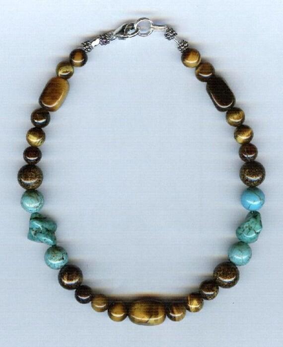 Turquoise, Tiger Eye and Bronzite Gemstone  Bracelet - Anklet