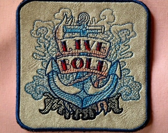 Live Bold on Leather Iron on Patch