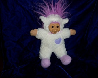 Russ Lamb Troll with Heart  & Purple Hair