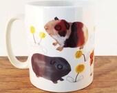 Animal Mug, Guinea Pig Accessories, White Ceramic Mug Guinea Pigs Orange Brown Cup Cute Pets
