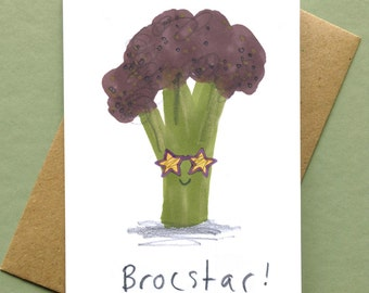 Vegetable Valentines Card Rockstar Brocstar Brocoli Blank