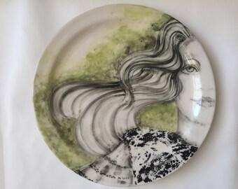 Hand Painted Stoneware Dinner Plate - Black Lace - Margi Cloete