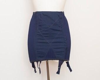 1960s garter girdle skirt navy blue bombshell dead stock Vintage