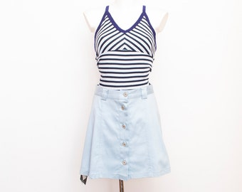 90s Vintage blue Skirt buttons up size S