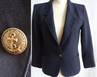 Vintage Navy PORTS Blazer Vintage 1990s Blazer Navy Nautical Jacket