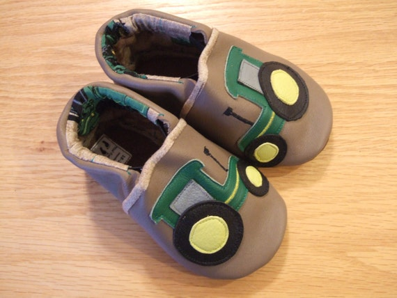 baby boy John Deere tractor shoes size 6/ by mudturtlesandmore