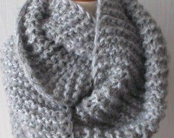 Handknitted Super Chunky Cowl Shoulder Warmer in Grey for Men Women Soft