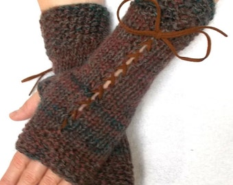 Fingerless Gloves Knit Corset Arm Warmers Brown Taupe Green Women Accessory Victorian Style