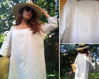 Antique French linen peasant dress