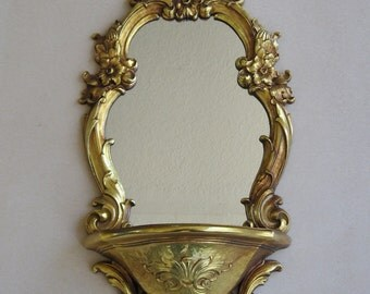 Syroco 1970 Gilt Mirror/Shelf