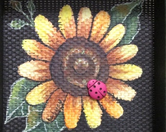 Yellow Sunflower with Green Leaves and Lady Bug, Hand or Tole Painted, Framed in Reclaimed Pine Wood Hand Crafted Frame, Acrylic Paints
