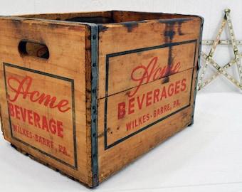 Wood Acme Beverages Crate - wooden storage box - Vintage Beverage Crate