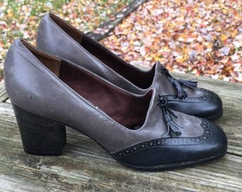 NOS 70s or 80s Leather Shoes, Size 5 1/2, Custom Collection by Jacqueline / Women's Wingtip Shoe