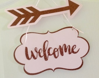 Modern Calligraphy Welcome sign.  Welcome sign