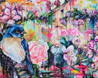 Bluebird Friends - 12x36 Stretched Canvas Giclee Large Wall Art Over the Sofa Painting - Landscape Bright Colors Roses Shabby Chic