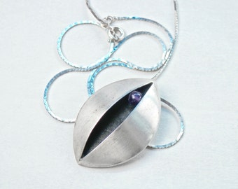 Modernist Abstract Pendant, Silver Necklace, Amethyst Jewelry, Abstract Jewelry, Evil Eye