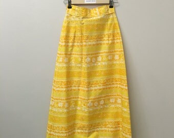 Vintage Bright Yellow Pattern Printed Cotton Maxi Skirt