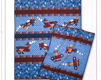 Kid's Quilts Kids Quilts Up And Away Pattern Airplanes Flying Boys