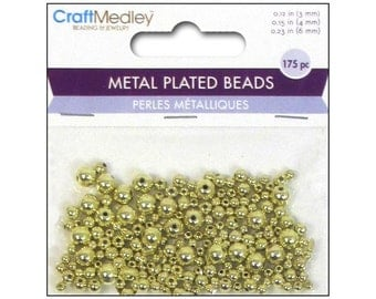 Metal Spacer Beads MultiCraft 3mm 4mm 6mm Gold Round Shiny Metal Spacer Bead