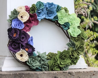 Grapevine wreath with handmade felt flowers and succulents