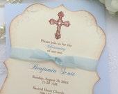 Boy Baptism Invitations Christening First Communion Blue Invite Printed Set of 10