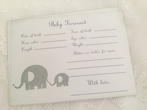 Elephant Predictions Cards Forecast Guessing Baby Shower Game Activity Cards Set of 10