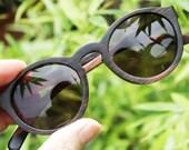 THANKS handmade round 1960' TAKEMOTO ebony wood sunglasses