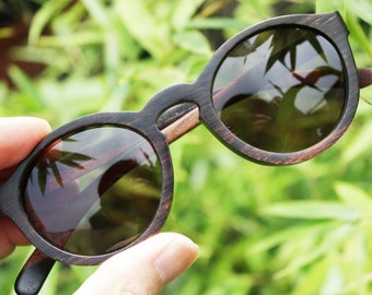 customize Thanks Handmade Round 1960' Takemoto Ebony Wood prescription Sunglasses