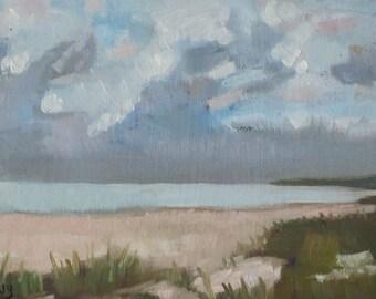 Original Oil Painting Ocean And Clouds