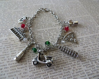 Italy Themed Silver Charm and Crystal Bracelet