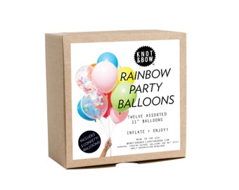 Rainbow Party Balloons / Includes 3 Confetti Balloons / 12 count