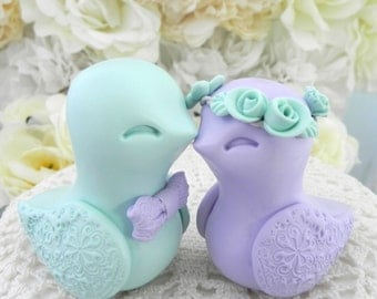 Love Birds Wedding Cake Topper, Lilac Purple and Mint Green, Bride and Groom Keepsake, Fully Custom