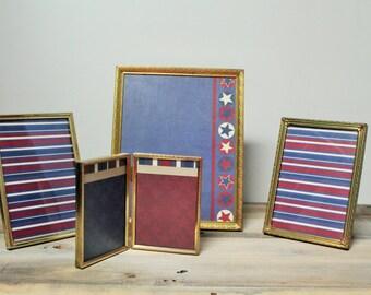 Set of Four Vintage Brass Picture Frames