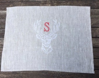 Linen Table Placemat, Natural Gray Deer Stag Polygon Geometric Embroidery Design Personalized Red Monogram, Christmas in July, Holidays
