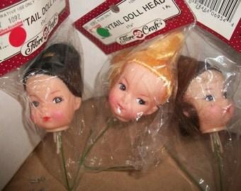 Packaged FibreCraft Doll Heads on Stick/Picks
