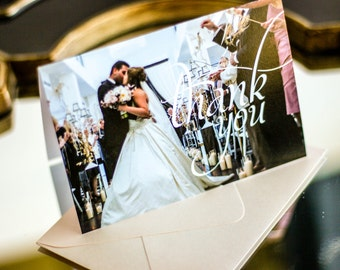 """Blush and Coral, Newlywed Thank You, Wedding Thank You Cards, Damask Stationery - """"Dramatic Script"""" Folded Photo Thank You Cards - DEPOSIT"""