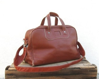 15% Off Out Of Town SALE SALE 70s Duffle Satchel Bowling Bag Rugged Wine Travel Bag