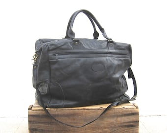 Duffle Bag Suitcase Black Leather Large Travel