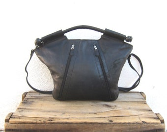 Handbag Tote Shoulder Bag Black Leather Purse