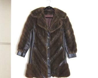 70s Faux Fur Chevron Fitted Bohemian Tissavel France Long Coat Ladies Size S/M