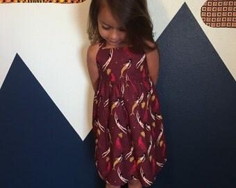 Mermaid Dress Toddler or Girls MADE TO ORDER The Rosie Dress in Mermaid Sisters Maroon Background