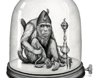 For A Jar Of Metal Coins - Print of a hookah smoking monkey trapped under a mechanical bell jar by Amy Dover