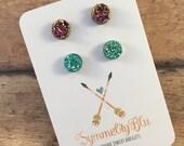 Double Set of Earrings, 8mm Magenta and 8mm Green Stud Earrings, Graduation Gift, Earring Set, Birthday Gift, Pink Earrings, Mint Earrings