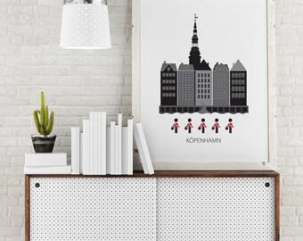 Copenhagen, city poster, art poster, Capital of Denmark, city print, wall art